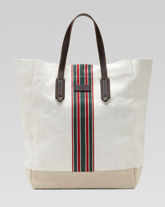 Hempy Canvas Top-Handle Tote, White