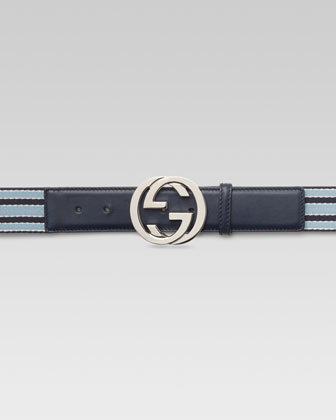 Ribbon Belt with Interlocking G Buckle