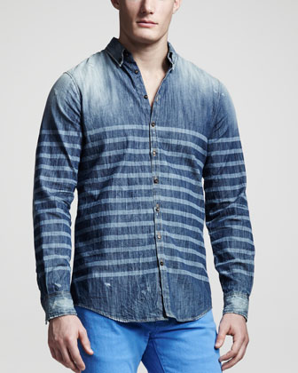Laser-Stripe Denim Shirt