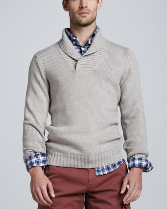 Chunky Shawl-Collar Sweater