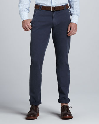 Washed Six-Pocket Pants
