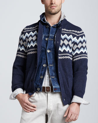Fair Isle Cotton-Blend Cardigan