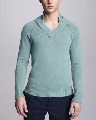 Cashmere Raglan Sweater, Light Green
