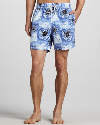 Moorea Stingray/Hibiscus Swim Trunks