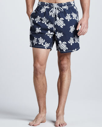 Moorea Turtle-Print Swim Trunks, Navy