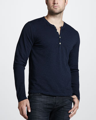 7 For All Mankind Burnout Slub Henley Tee
