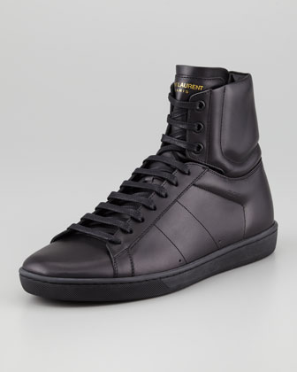 High-Top Leather Sneaker, Black