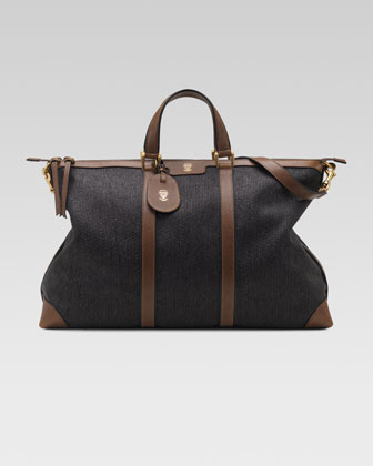 Raffia Top-Handle Duffel Bag
