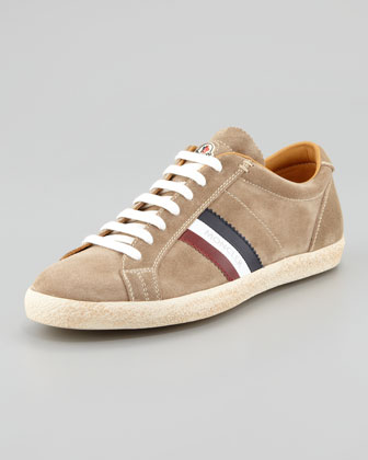 Moncler Monaco Suede Low-top Sneaker, Tan