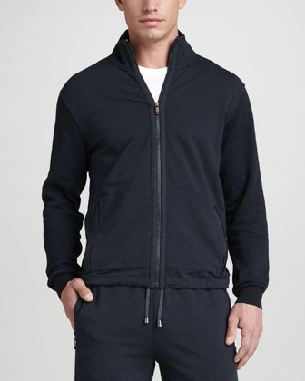 Zip-Front Track Jacket, Navy