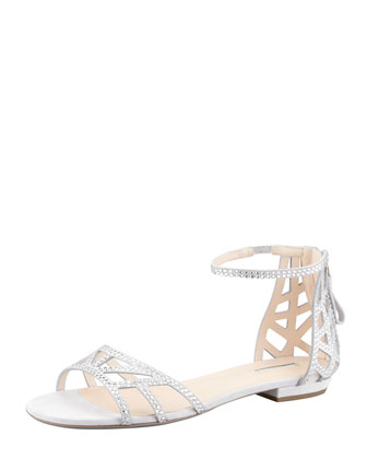 Flat Crystal Evening Sandals, Light Gray