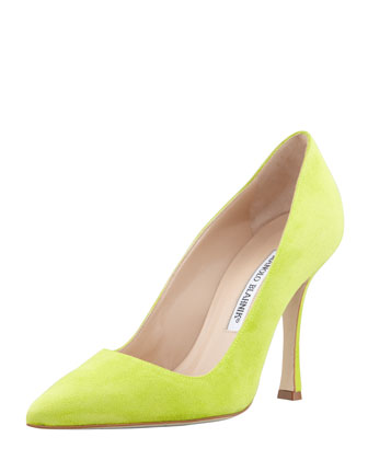 BB Suede Pointed-Toe Pump, Lime