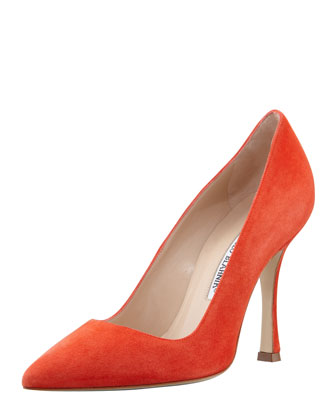 BB Point-Toe Suede Pump, Orange
