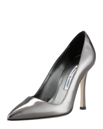 BB Point-Toe Metallic Pump, Gunmetal