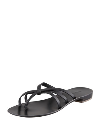 Swalka Strappy Leather Thong Sandal, Black