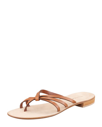 Swalka Strappy Leather Thong Sandal, Luggage
