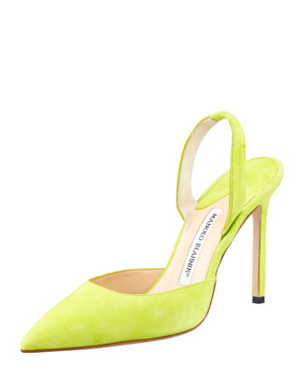 Carolyne Suede High-Heel Halter Pump, Lime Green