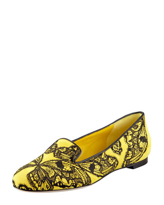 Butterfly Embroidered Suede Smoking Slipper