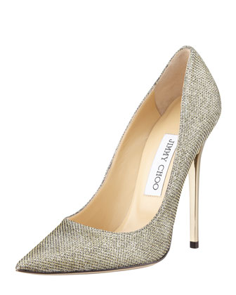 Anouk Glittered Point-Toe Pump, Bronze