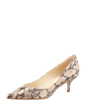 Aza Low-Heel Snake Pump, Beige