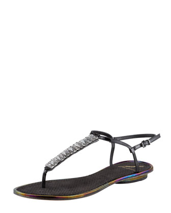 Callas Crystal Thong Sandal, Black