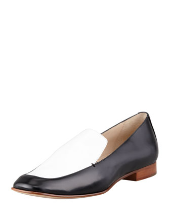 Cassi Leather Loafer, Black/White