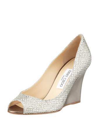 Baxen Glitter Mirrored Wedge Pump, Champagne