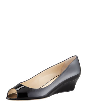 Bergen Peep-Toe Patent Wedge, Black