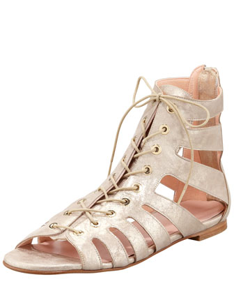 Pantheon Flat Gladiator Sandal, Gold