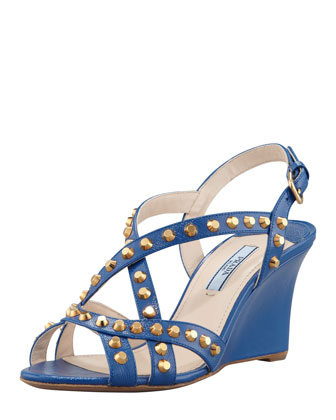 Studded Saffiano Wedge Sandal, Blue