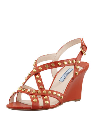 Studded Saffiano Wedge Sandal, Orange