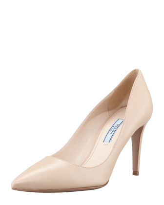 Capretto Pointed-Toe Pump, Beige