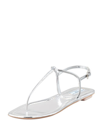 Flat Metallic Leather Thong Sandal, Silver