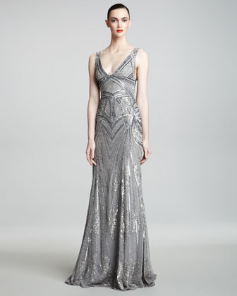 Monique Lhuillier Art Deco Embroidered Gown