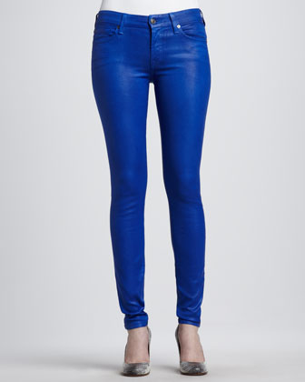 Skinny High-Shine Gummy Jeans, Cobalt