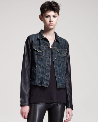 Rag & Bone/jean Distressed Leather-sleeve