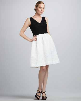 Colorblock Lace Cocktail Dress