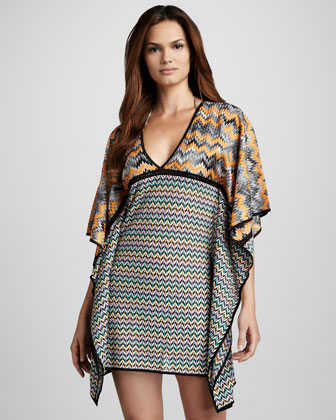 Mixed-Print Jersey Coverup Dress