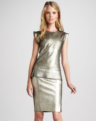 Metallic Leather Pencil Skirt
