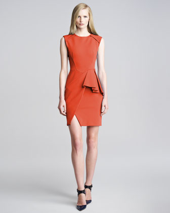Techno-Jersey Peplum Dress