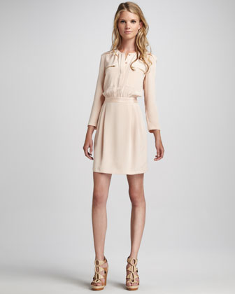 Brunella Zip-Pocket Charmeuse Dress