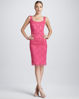 Scoop-Neck Lace Cocktail Dress