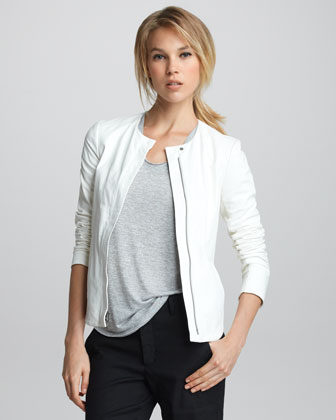 Front-Zip Leather Jacket