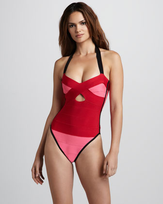 Colorblock Bandage One-Piece Swimsuit