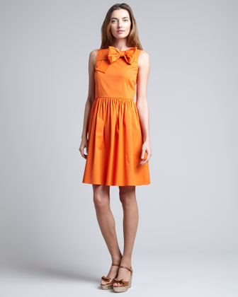 Front-Bow Full-Skirt Dress, Mandarin