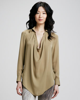 Silk Cowl-Neck Blouse