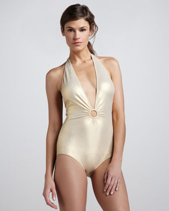 Deep-V Halter One-Piece Swimsuit