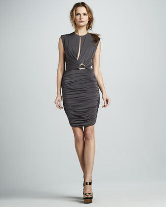 Front-Slit Ruched Dress