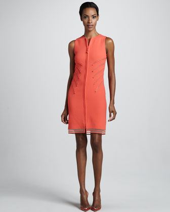 Zip-Front Wool Crepe Dress