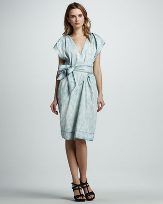 Chambray Fluted-Sleeve Dress